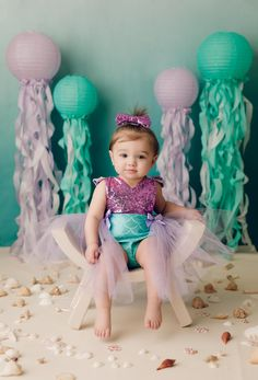 Mermaid Cake Smash Birthday Girl Pictures, First Birthday Photos, Girl First Birthday, Smash Cake Girl, 1st Birthday Cake Smash, Mermaid Theme Birthday, Little Mermaid Birthday, Little Mermaid Baby, 1st Birthday Photoshoot