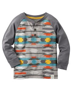 Featuring a cool geo-print, this boys' Carter's henley tee is a fun addition to his wardrobe. Baby Boy Tops, Carters Baby Boys, Toddler Boys, Kids Fashion Boy, School Fashion, Toddler Fashion, Man Fashion, Carter Kids, Henley Tee