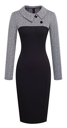 209f03f8d6f6fe online shopping for HOMEYEE Women s Retro Chic Colorblock Lapel Career  Tunic Dress from top store. See new offer for HOMEYEE Women s Retro Chic  Colorblock ...
