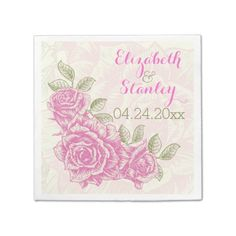 Vintage hot pink roses floral wedding paper napkin. Also available in red, yellow, purple, blue and orange and on invitations and such. #papernapkin #wedding #hotpink