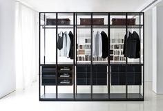 Glass walk-in wardrobe / by Piero Lissoni - AIR - Porro Corner Wardrobe, Wardrobe Storage, Walk In Wardrobe, Closet Storage, Wardrobe Sale, Bedroom Wardrobe, Pax Wardrobe, Glass Wardrobe, Wooden Wardrobe