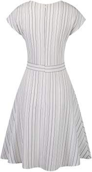 pinup fashion womens v neck Elegant Midi Dresses, White Midi Dress, Casual Summer Dresses, Striped Dress, Vintage Tea Dress, Vintage Inspired Dresses, Sweet Dress, Pin Up Style, Fashion Outfits