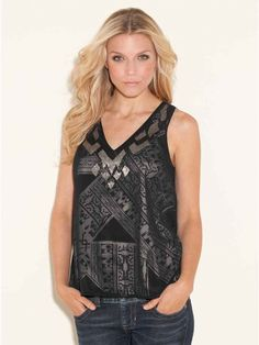 GUESS LENA SLEEVELESS EMBELLISHED MODERN PRINTED TOP