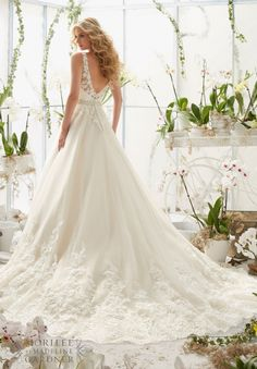 Wedding Dress 2821 Classic Tulle Ball Gown with Crystal Beaded  Alencon Lace Appliques and Wide Scalloped Hemline