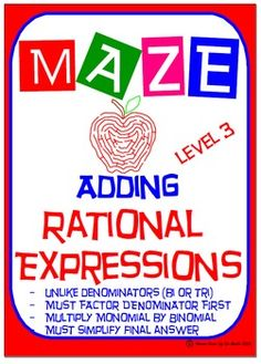 Maze - Rational Expressions - Adding with Unlike Denominat