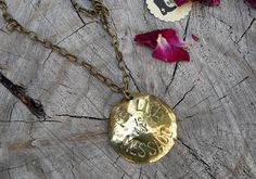 Hey, I found this really awesome Etsy listing at https://www.etsy.com/listing/473474897/my-life-is-my-message-brass-pendant
