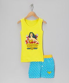 Take a look at this Yellow Wonder Woman Tank Pajama Set - Girls by DC Comics on #zulily today!