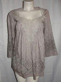 Daniel Rainn Women's Top Sz S Peasant Blouse Shirt Tunic Boho Cotton Silk Brown #DanielRainn #Blouse #Casual