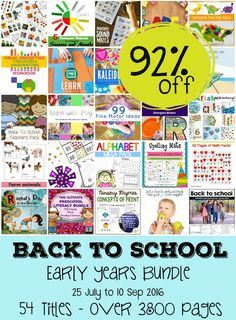 School Time Snippets: Get Ready for Back to School-Early Years Bundle SALE! Printables and activity ideas range from toddler, preschool, kindergarten and grades 1-3. Pinned by SOS Inc. Resources. Follow all our boards at pinterest.com/sostherapy/ for therapy resources.