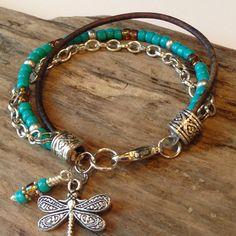 Turquoise Beacelet, Beaded Boho Wrap, Single wrap, Turquouse, Root beer, Silver Beaded bracelet, Custom, Charm, Gift for her