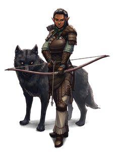 Female Elf Ranger Archer with wolf - Pathfinder PFRPG DND D&D 3.5 5th ed d20 fantasy
