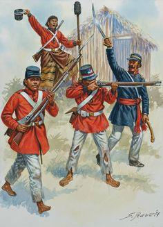 PARAGUAYAN FOOT TROOPS 1:Infantryman,1865.2:Infantryman,1865.3:Infantryman officer,1865.4:Gunner,Horse Artillery,1867.