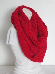 Chunky Infinity Scarf, Oversize Extra Thick - Cherry Red...Free Matching beanie hat with pom poms by VansBasicWear on Etsy