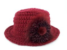 HAND KNIT Burgundy hat with with detachable flower pin made by fur and leather. by QLeathercom on Etsy Knitted Hats, Crochet Hats, Flower Making, Real Leather, Hand Knitting, Burgundy, Fur, Unique Jewelry, Handmade Gifts