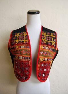 Vintage 70s Boho Hippie Embroidered Mirrored by LolaAndBlack, $26.50