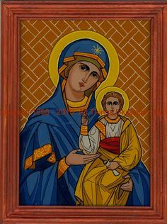 Virgin and Christ Icon Byzantine, My Works, Catholic, Christ, Princess Zelda, Baseball Cards, Painting, Fictional Characters, Glass