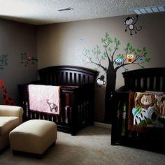 Twin Jungle Nursery. Adorable for little boys.
