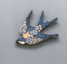 Beautiful handmade mosaic birds made from vintage china with a touch of fairytale, by professional designer maker Emily Lawlor from her Cotswolds studio Paper Mosaic, Mosaic Wall Art, Mirror Mosaic, Mosaic Diy, Mosaic Crafts, Tile Art, Mosaic Glass, Mosaic Ideas, Tile Mosaics
