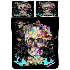 Sugar Skull Duvet Cover Sugar Skull Bedding Butterfly Floral Abstract... ($119) ❤ liked on Polyvore featuring home, bed & bath, bedding, duvet covers, dark olive, home & living, skull bedding, king size bedding, queen bedding and floral queen bedding