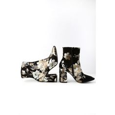 My Generation Black Floral High Heel Mid-Calf Boots ($47) ❤ liked on Polyvore featuring shoes, boots, ankle boots, black, mid calf high heel boots, black ankle boots, black block heel boots, short black boots and black bootie