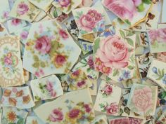 Floral Chintz Mosaic Antique Plate Tiles. Big Beautiful set of 100+ Hand-Nipped Vintage tiles. The best (& largest) set of this kind weve ever