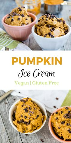 Vegan Pumpkin Ice Cream is a delicious and creamy treat! Made with coconut milk rather than whole milk and heavy cream, it can be a sweet alternative to traditional ice cream. Raw cacao nibs add some crunch and chocolatey goodness to this frozen dessert.