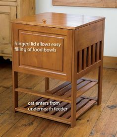 Dog proof cat feeding station - this might be a great way to recycle and old end table, or night stand