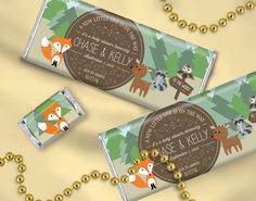 Woodland Creatures Baby Shower Favors to Coordinate with Forest Theme - Personalized Chocolate Bars / Candy Wrappers