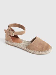 Gap Women's Ankle-Strap Flat Espadrilles In Suede Khaki Ankle Sneakers, Leather Sneakers, Leather Sandals, Ankle Strap Flats, Ankle Straps, Sneaker Store, Plimsolls, Espadrille Sandals, Wedge Sandals