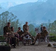 A picture that I posted on my own timeline a year ago. Major Winters, Captain Nixon and Lt's Peacock and Welsh relaxing at the Eagles Nest (not sure who the chap on the right is)