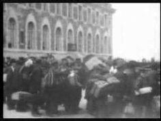 Footage of Irish immigrants arriving at Ellis Island