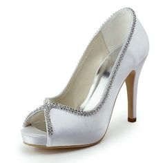 Women& Shoes Peep Toe Stiletto Heel Pumps with Rhinestone Wedding Shoes More Colors available – GBP £ Rhinestone Wedding Shoes, Satin Wedding Shoes, Wedding Pumps, Bridal Wedding Shoes, Cute Wedding Dress, Fall Wedding Dresses, Sandals Wedding, Bridal Sandals, Peep Toe Pumps