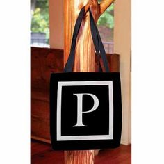 Thumbprintz - Classic Block Monogram Tote Bag, Women's, Size: 18 inch x 18 inch, Black