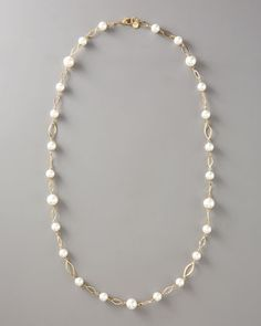 Pearl Link Necklace, Gold by Majorica at Neiman Marcus.