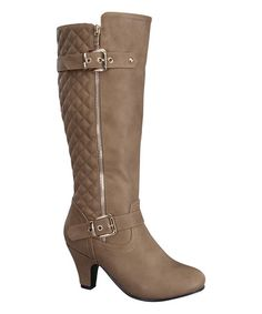 Loving this Taupe Quilted Union Boot on #zulily! #zulilyfinds