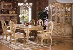 Dining Room Fireplace White Carved Dining Set Fruit Bowl Grapes Flower Vase Green Plant Curio Cabinet Ceramic Plate Chandelier Window Candle Holder Painting Brick Wall Carpet Must-Have Dining Room Equipment