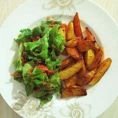 my dinner was mixed salad with potato wedges