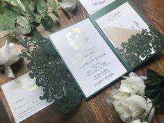 2 Samples Left Real Foil Emerald Green Lasercut Gatefold OR | Etsy Pocket Wedding Invitations, Gold Invitations, Invitation Envelopes, Emerald Green Weddings, Menu Cards, Foil Stamping, Bar Signs, White Ink, Gold Foil
