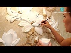 Master class the flower bas-relief of gypsum plaster DIY Clay Wall Art, 3d Wall Art, Mural Art, Clay Art, Plaster Crafts, Plaster Art, Clay Crafts, Diy And Crafts, Sculpture Painting