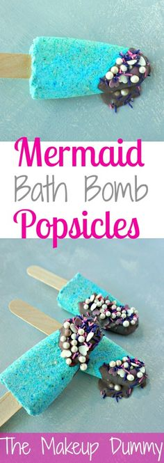 Mermaid Bath Bomb Popsicles with sparkle dip Such a cute idea! How To mke your own DIY Mermaid Bath Bomb Popsicles. Tutorial by The Makeup DummySuch a cute idea! How To mke your own DIY Mermaid Bath Bomb Popsicles. Tutorial by The Makeup Dummy Bath Bomb Packaging, Packaging Ideas, Mermaid Bath Bombs, Homemade Bath Bombs, Homemade Soaps, Homemade Products, Bombe Recipe, Lush Bath Bombs, Mermaid Diy