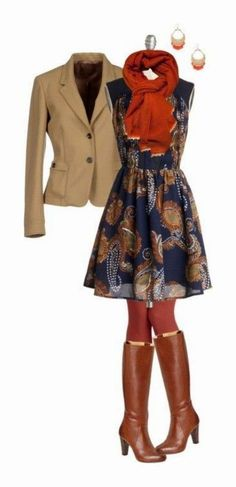 Hate the jacket, love the idea of the dress, tights, boots & maybe the scarf.  A loose sweater instead of the jacket?