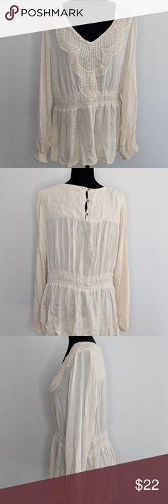 Knox Rose Long Sleeve Crochet Peasant Blouse Knox Rose Women's XXL Ivory Long Sleeve Crochet Lace Trim Peasant Blouse  Measurements: - Shoulder:18 - Armpit to Armpit:44 - Side Seam:17 * Measurement's are taken flat across the front and doubled if applicable. Please compare to your own clothing to ensure a good fit!  Preowned but in good condition! Has tiny home on sleeve, see photos. Knox Rose Tops Blouses