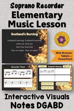 Your elementary music students will LOVE these interactive visuals while learning this recorder song Scotland's Burning! Perfect for your music lesson plans working with with soprano recorders! Music Classroom, Music Teachers, Elementary Music Lessons, Music Lesson Plans, Teaching Music, Music Education, Students, Songs, Learning