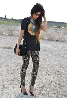 Leopard love + a band tee = can't go wrong