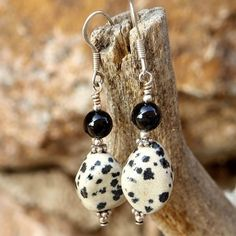 Handmade Gemstone Earrings Dalmatian Jasper Black Onyx Spotted Jewelry | ShadowDogDesigns - Jewelry on ArtFire