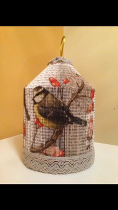 Birdcage with decoupage finish. Andi's crafty creations on Facebook Folded Book Art, Paper Book, Paper Art, Paper Crafts, Old Book Crafts, Book Page Crafts, Hobbies And Crafts, Crafts To Make, Paper Architecture