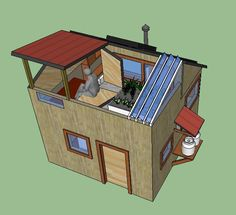 This tiny house can harvest water, food, and power in a mere 185 sq. ft. with a budget of around $10,000.   Jonathan Marcoux Squared Eco House - Simple Solar Homesteading   Tiny Homes
