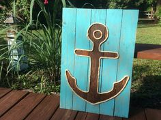 A personal favorite from my Etsy shop https://www.etsy.com/listing/212643251/handmade-anchor-with-rope-beach-pallet