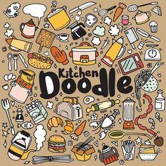 Foods and Kitchen doodles hand drawn sketchy vector symbols and objects,vector illustration Illustration , Cute Food Drawings, K Crafts, Isometric Design, Framed Prints, Art Prints, Art Challenge, Doodle Art, Art Images, Doodles