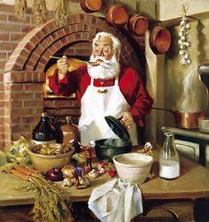 Santa's Cuisine | Santa Claus Figurines and Hand Carved Wooden Santas #Santa #Santa_Claus